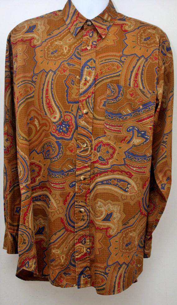 "Rare 90's Vintage ""NAUTICA"" Long-Sleeve Pattern Shirt Sz: LARGE (Men's Exclusive)"