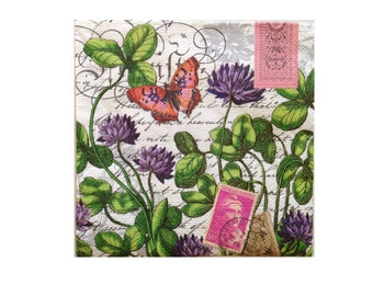 Paper Napkins for Decoupage GREEN GARDEN POSTAGE and Butterfly Paper Napkins for crafts 2(two) Luncheon size Purple Green Scroll Napkins