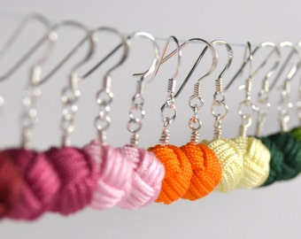 Sterling Silver Monkey's Fist Knot Dangle Earrings - Many Colors Available!