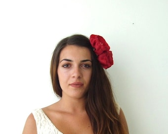 Large Valentines Day Red Flower Hair Clip Womens Hair Accessories Bridesmaids Hair Flowers
