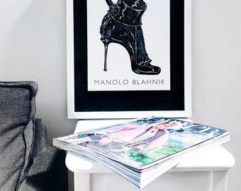 Fashion Illustration Print: Manolo Blahnik Stiletto Bootie (Black & White)