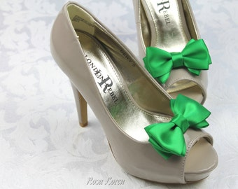 Emerald Green Shoe Clips, St Patrick's Day Green Satin Bow Shoe Clip, Green Wedding Accessories Shoes Clip