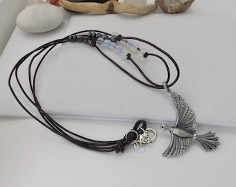 Southwestern, Bohemian, Boho, Extra Long Leather Necklace with Bird Pendant, Hematite and Moonstone for Summer, Spring, Fall, Winter
