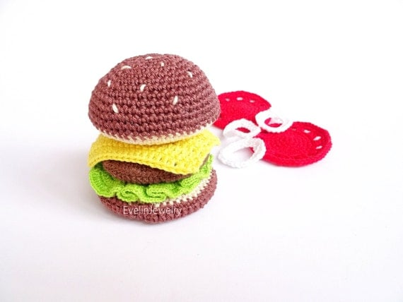Amigurumi Fast Food : Items similar to Hamburger Play Food Toy Amigurumi Fast ...