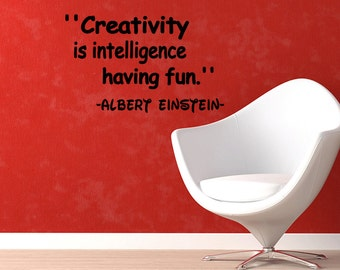 Wall Quotes Creativity Is Intelligence Having Fun Vinyl Wall Decal Quote Removable Sports Wall Sticker Home Decor (X46)