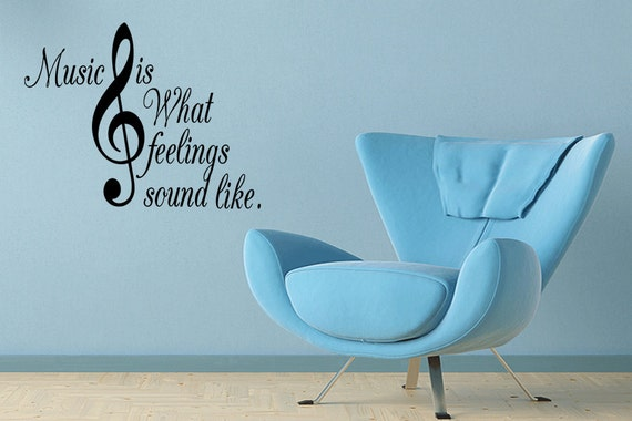 Wall Quotes Music is What Feeling Sound Like Treble Clef Partyrational Vinyl Wall Decal Quote Removable Wall Sticker Home Decor Sticker (62)