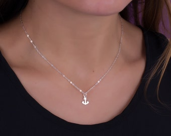 """Silver anchor necklace, sterling silver necklace, anchor necklace, tiny anchor necklace, nautical jewelry, sterling silver jewelry, """"Proteus"""