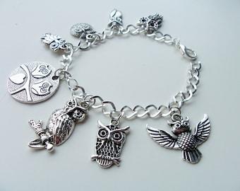 Owl themed charm bracelet - owls metal charm bracelet - owl bird charm bracelet - owl jewelry - owl charms - Halloween bracelet - owl themed