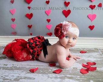 vintage style headband, red hearts Shabby Headband, baby Headband,Valentines headband, fancy headband, flower headband, baby girl  hairbow