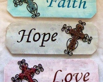 CLEARANCE - Faith, Hope, & Love Signs
