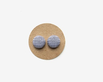 Navy Striped Fabric Button Earrings, Spring Earrings, Navy Stripes, Nautical, Gifts for her, Stripes, SummerFashion // Mothers Day // Trends