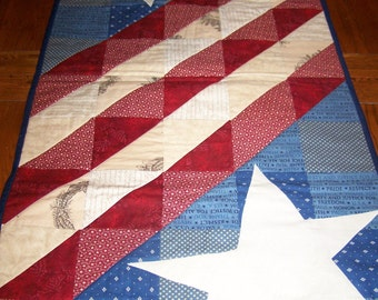 HANDMADE Americana Quilted Table Runner with Applique Star, Primitive Decor, Red White Blue, July 4th USA, Memorial Day, Patriotic