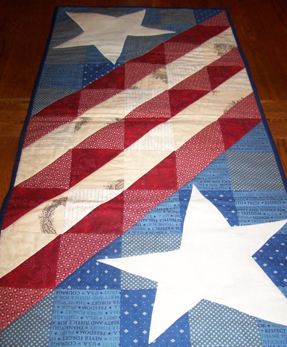 Items Similar To Handmade Americana Quilted Table Runner
