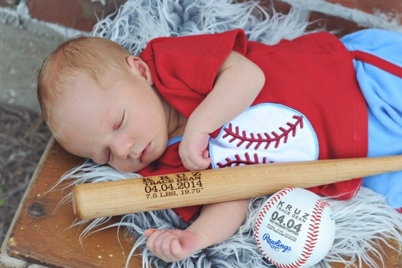 Personalized baseball bat birth announcement baby boys gift like this item negle Image collections
