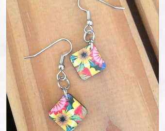 Laser Cut Wooden Dangle Flower Earrings