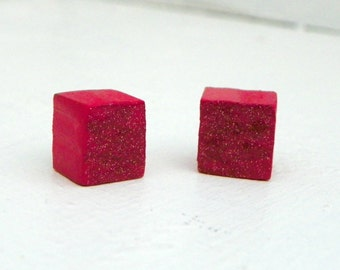 Sparkly Red Cube Earrings Square Earrings Glitter Upcycled Wood Earrings
