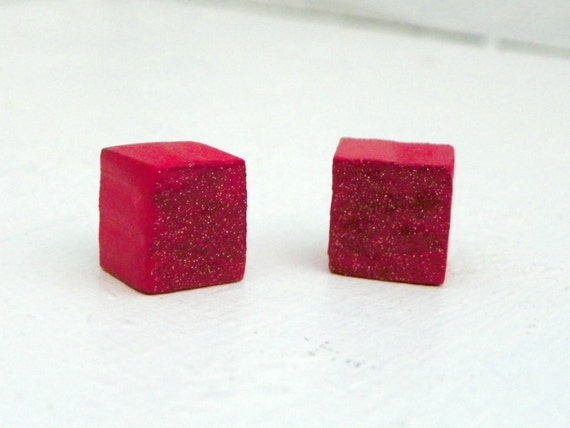 Sparkly Red Cube Earrings from Feath and Kee