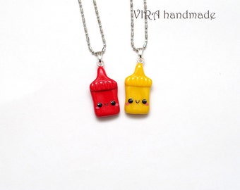 Kawaii Ketchup and Mustard Best Friends Necklaces or Earrings