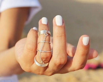 Chain Knuckle Ring - Unique Midi Ring - Chain Silver Ring - Unique Ring - Chain Midiring - Minimalist Ring - Ring - Sterling Silver  Ring
