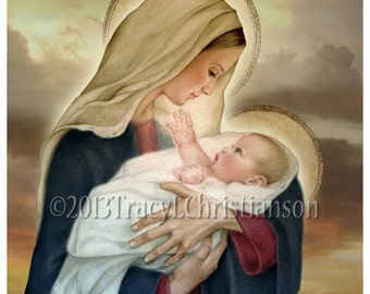Madonna and Child (F) Catholic Art Print Blessed Virgin Mary, Baby Jesus #4027