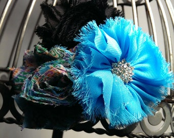Turquoise and black hair clip, turquoise hair flower, black shabby chic flower clip, frayed fabric vintage inspired hair accessoryHair clip