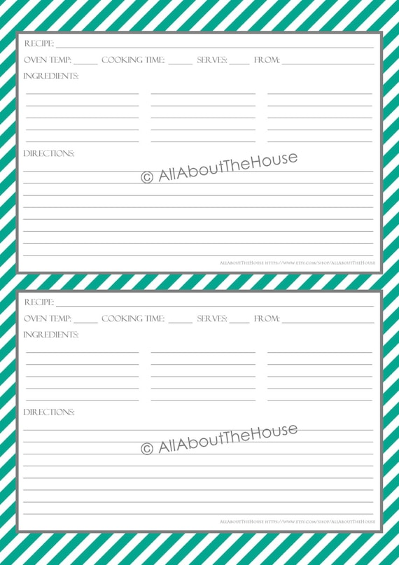 Items similar to editable printable stripe recipe template recipe card recipe organisation for Editable recipe card