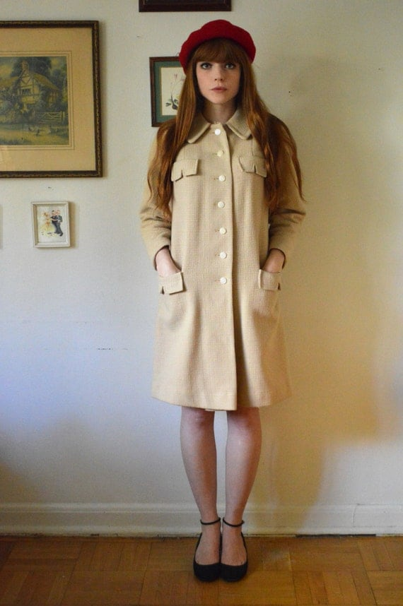Vintage 1950's Cream Peter Pan Collar Scout Style Coat (S)