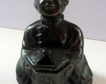 Vintage Bronzed Spelter INCENSE BURNER - of a Chinese Man or Mandarin Holding a LIttle Lidded Pot
