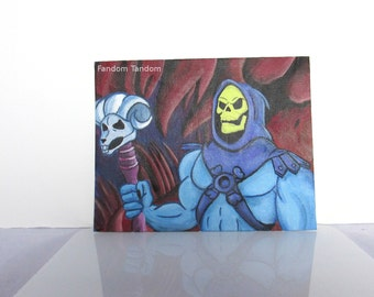 "Masters of the Universe Skeletor Art Acrylic Painting Flat Canvas 10"" x 8"""