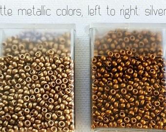 MATTE METALLIC Czech glass 11/0 seed beads - CHOICE - Silver, Gold, Brass, or Copper - 10  grams