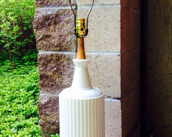 Vintage White Ceramic and Wood Mid Century Table Lamp