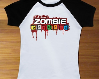 I Attend Zombie Daycare Funny Raglan Toddler Shirt