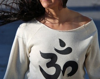 Yoga Aum Symbol Wideneck Off the Shoulder Girly Sweatshirt Slouchy Pullover