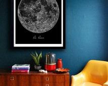 Vintage La Lune Moon Poster PRINTABLE FILE - same price / 5 sizes, Vintage luna print, Moon art, Bedroom decor, Wall art, Dorm Room art