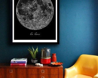 Moon print Poster PRINTABLE FILE  - La Lune, la luna print, Moon art, full moon, monochrome print,  Bedroom decor, Wall art, Dorm Room art