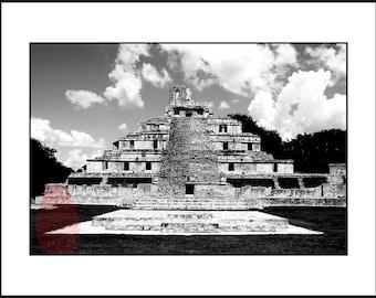 Black and White  Photography Download, Mexican Wall Art, Pyramid Maya Photo, Printable Pyramid Photograph, Architectural Photo Art Print