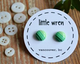 Green Ombre Circle Stud Earrings on Surgical Steel Posts   Striped Earrings   Kids Earrings   Little Wren   SALE