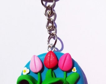 Tulips Keychain - Handmade in Polymer Clay …