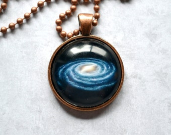 "Glass Pendant Necklace - Milky Way Galaxy outer space image - 1 inch glass pendant necklace 24"" choose finish"