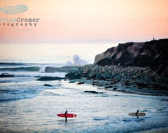 Ocean, Pacific Ocean, Waves, Surfers, Surfing, Surf Boards, California,  Vintage Style, Photographic Print, Kristine Cramer  Photography
