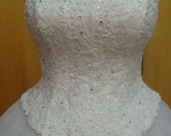 Bridal Corset Lace Wedding Dress Top Wedding Corset Overbust Sweetheart Neckline Bustier Bridal Gown Top Beaded Lace Peals Rhinestones