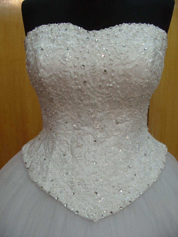 Bridal corset lace wedding dress top wedding corset overbust for Wedding dress bustier corset