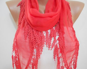 Cotton Scarf Coral Scarf Shawl Coral Red Wedding Scarf Bridesmaids Gifts Women Fashion Accessories Holiday Christmas Gifts For Her For Women