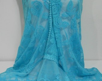 Lace Shawl Scarf Bridal Accessories Turquoise Scarf Shawl Blue Women Cowl Turquoise Wedding Shawl Scarf Women's Spring Summer Fashion Scarf