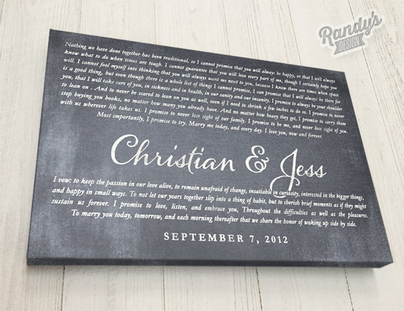 Wedding Vows Gift: Personalized Wedding Vow Gift Wedding Vows Canvas By