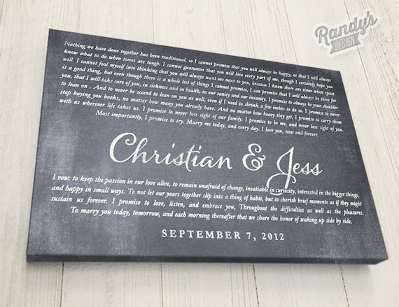 Personalised Wedding Vow Gifts : Personalized, Wedding Vow Gift, Wedding Vows Canvas, Wedding Vows ...