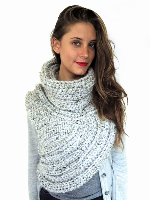 Chunky Knit Asymmetric Cowl Vest Shawl Scarf One by TwoOfWandsShop