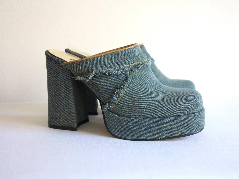 chunky blue denim platform shoes bohemian hippie blue jean