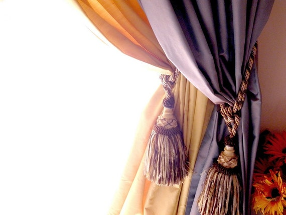 35% discount  for one pair of two beige and brown tassel Tieback Drapery Passementerie decoration for handmade projects and accessories