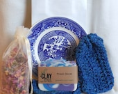 Spa Gift Set, Blue Gift Set,  Blue Gift Set, Free US Shipping, blue washcloth, cotton wash cloth, cotton washcloth